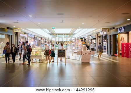 SAINT PETERSBURG, RUSSIA - AUGUST 14, 2014: Part of the Commercial center 'Galery' in Saint Petersburg. One of the biggest commercial centres in the city, opened on Nov 25, 2010