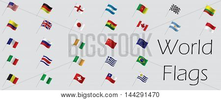 Set of world flags Vector illustration, eps 10