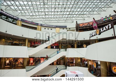 SAINT PETERSBURG, RUSSIA - AUGUST 14, 2014: Coffee house  and oter levels in the Commercial center 'Galery' in Saint Petersburg. One of the biggest commercial centres in the city, opened on Nov 25, 2010
