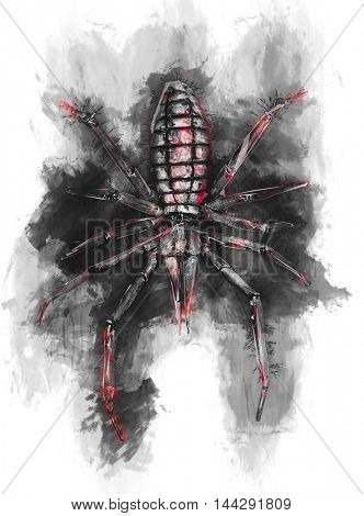 Scary looking red and black illustration of spider on top of black ink mass surrounded by white isolated background.