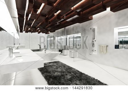 Interior of a modern white luxury bathroom with interesting ceiling decoration, a bathtub, shower, large mirror and windows in a corner angle perspective. 3d rendering.