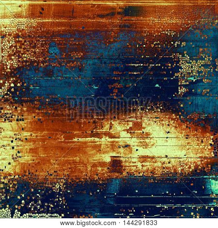 Grunge background or vintage texture in traditional retro style. With different color patterns: blue; red (orange); yellow (beige); brown; cyan
