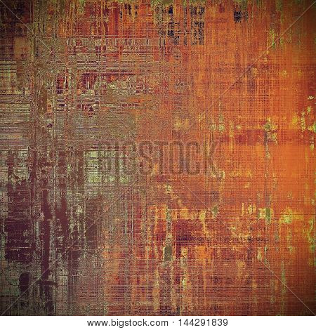 Abstract dirty texture or grungy background. With old style decorative elements and different color patterns: red (orange); purple (violet); yellow (beige); brown; pink