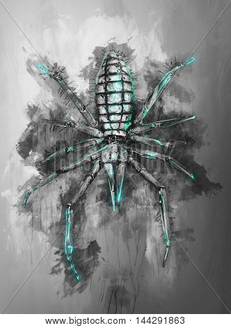 Ink on canvas sketch type of render of spider in black and green over gray background from top down view