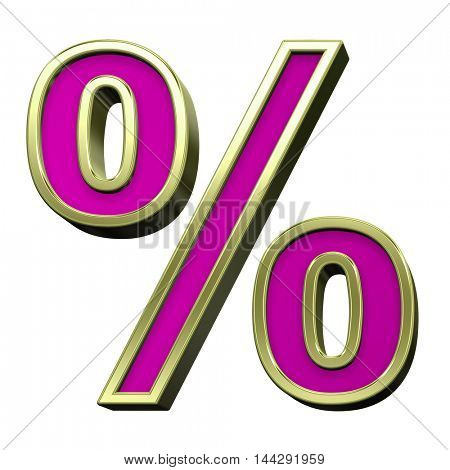 Percent sign from pink with gold shiny frame alphabet set, isolated on white. 3D illustration.