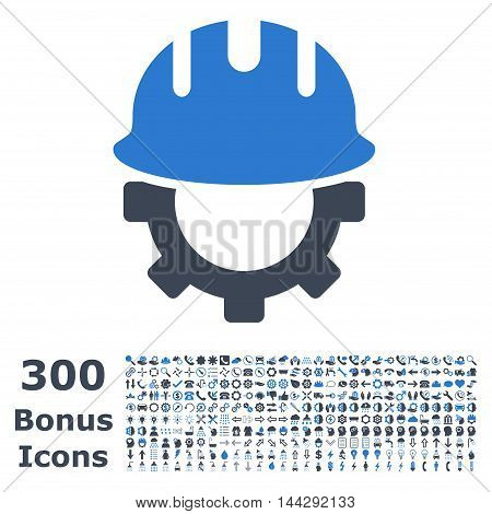 Development Hardhat icon with 300 bonus icons. Vector illustration style is flat iconic bicolor symbols, smooth blue colors, white background.