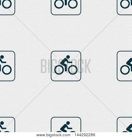 Cyclist Sign. Seamless Pattern With Geometric Texture. Vector