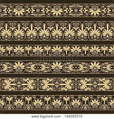 Set collections of old greek ornaments. Antique borders in yellow color on the dark brown background. Ethnic patterns. Vector illustrations.