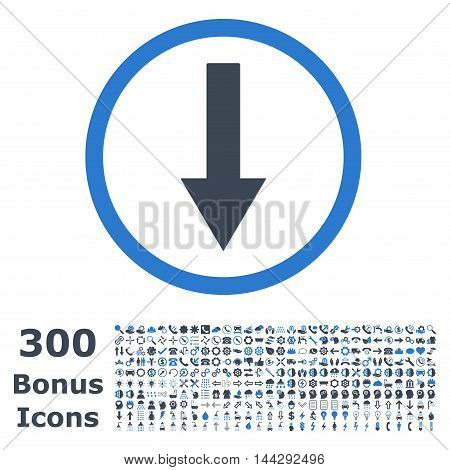 Down Rounded Arrow icon with 300 bonus icons. Vector illustration style is flat iconic bicolor symbols, smooth blue colors, white background.