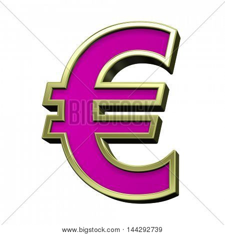 Euro sign from pink with gold shiny frame alphabet set, isolated on white. 3D illustration.