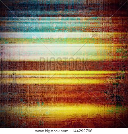 Grunge texture, aged or old style background with retro design elements and different color patterns: green; blue; red (orange); purple (violet); yellow (beige); brown