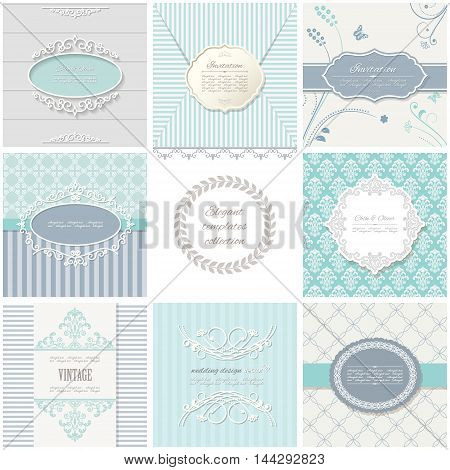 Frames and patterns. Vintage templates for wedding, invitation cards and banners.