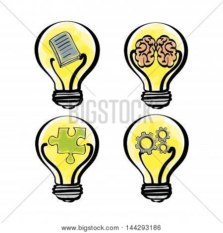 bulb gears brain puzzle big and great idea creativity icon set. Sketch and draw design. Vector illustration