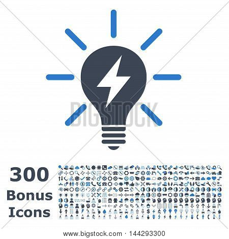 Electric Light Bulb icon with 300 bonus icons. Vector illustration style is flat iconic bicolor symbols, smooth blue colors, white background.