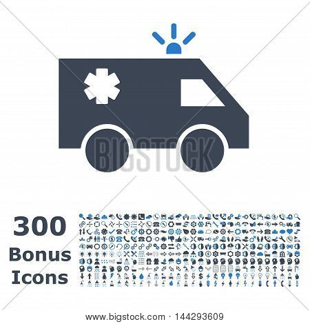 Emergency Car icon with 300 bonus icons. Vector illustration style is flat iconic bicolor symbols, smooth blue colors, white background.