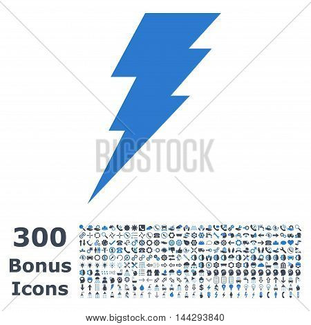 Execute icon with 300 bonus icons. Vector illustration style is flat iconic bicolor symbols, smooth blue colors, white background.