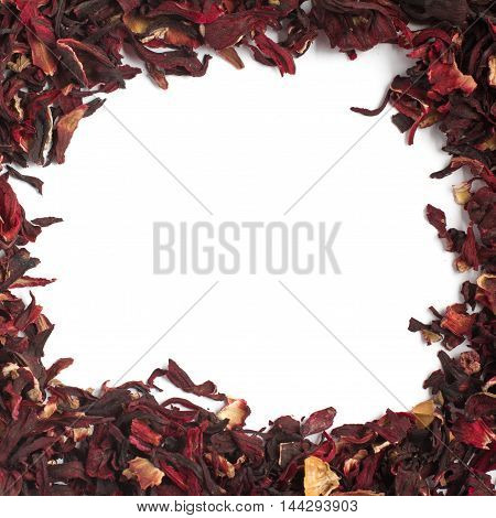 Dried hibiscus flower frame in white background