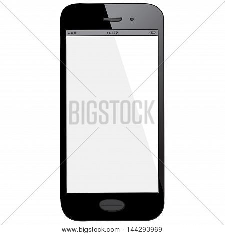 Black Smart Phone vector drawing illustration isolated on white.