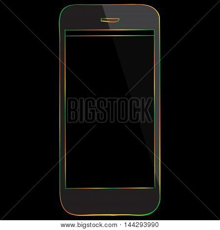 Smart Phone vector drawing illustration isolated on black.