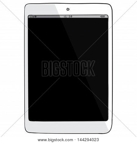 White Tablet computer vector drawing illustration isolated on white.