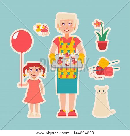 Grandmother's hobbies and care: cat knitting plants cooking. Elderly woman cooked cakes for her granddaughter. Girl with balloon. Nanny look after children. Grandparents Day.