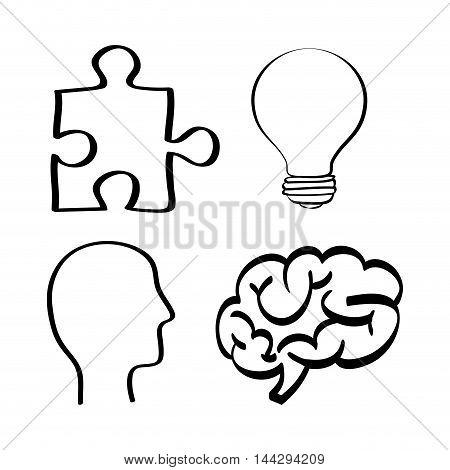 brain puzzle bulb head big and great idea creativity icon set. Sketch and draw design. Vector illustration