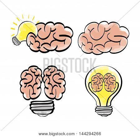 brain bulb big and great idea creativity icon set. Sketch and draw design. Vector illustration
