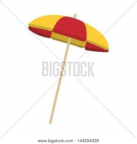 flat design striped parasol icon vector illustration