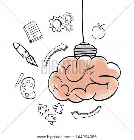 brain rocket arrow puzzle bulb big and great idea creativity icon set. Sketch and draw design. Vector illustration