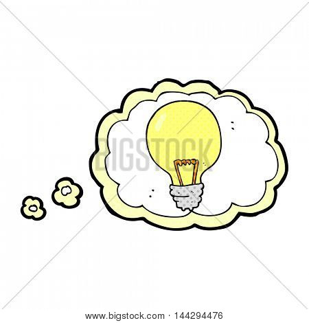 freehand drawn thought bubble cartoon light bulb