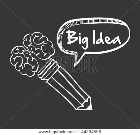 brain pencil bubble big and great idea creativity icon set. Sketch and draw design. Vector illustration
