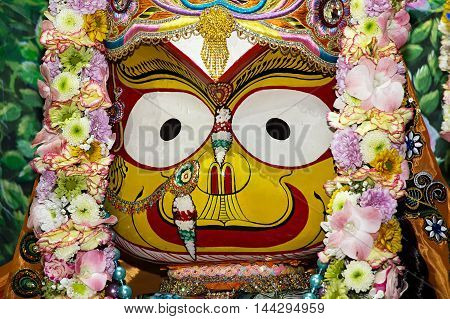Indian Deity Subhadra closeup. Subhadra - younger sister of Krishna.