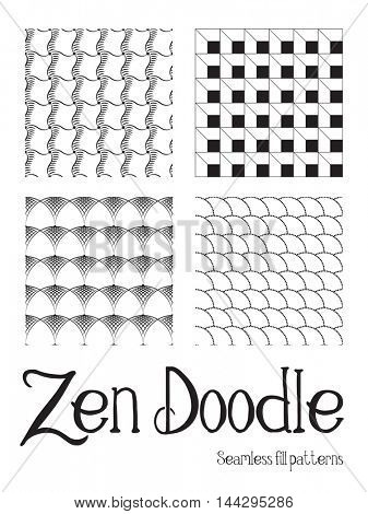 A set of 4 seamless Zentangle fill patterns in black and white. Pattern swatches included. EPS10 vector format.