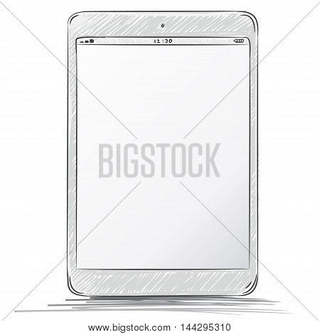 Tablet computer vector drawing illustration isolated on white.