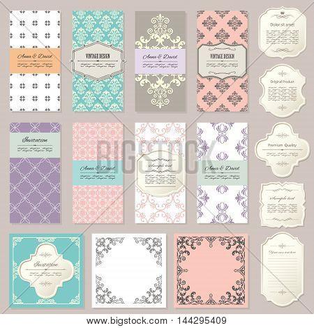 Elegant emplates, cards and frames on beige.
