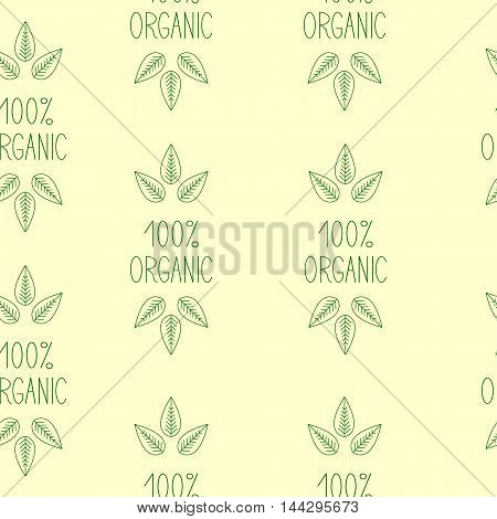 Seamless pattern with repeating green colored sprout on green lettering 100% organic