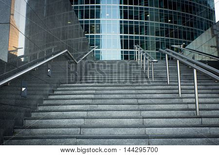 Moscow business center, Moscow-City. Stairs to the skyscraper.