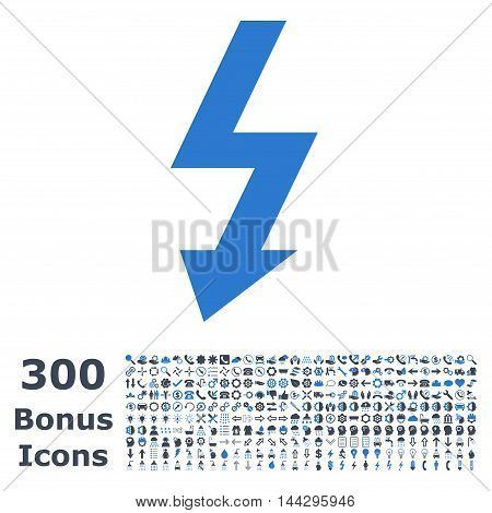 High Voltage icon with 300 bonus icons. Vector illustration style is flat iconic bicolor symbols, smooth blue colors, white background.