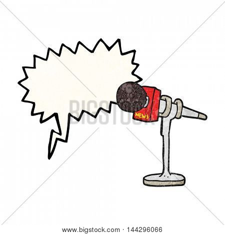 freehand speech bubble textured cartoon microphone