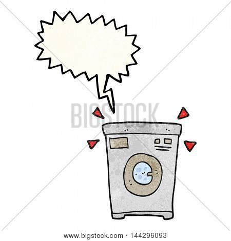 freehand speech bubble textured cartoon washing machine