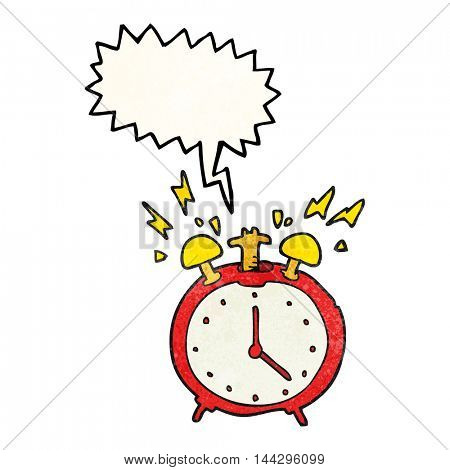 freehand speech bubble textured cartoon ringing alarm clock