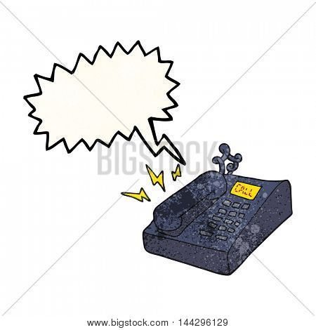 freehand speech bubble textured cartoon office telephone