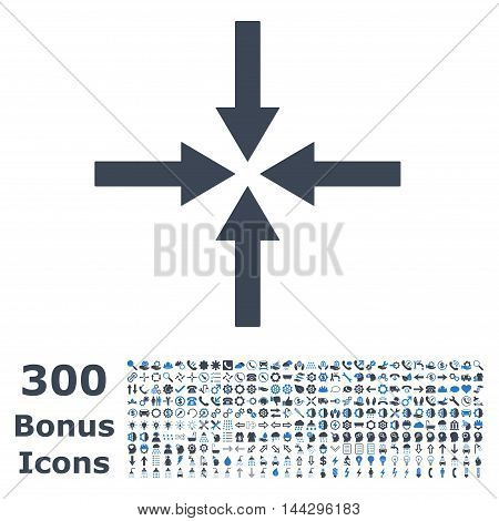 Impact Arrows icon with 300 bonus icons. Vector illustration style is flat iconic bicolor symbols, smooth blue colors, white background.
