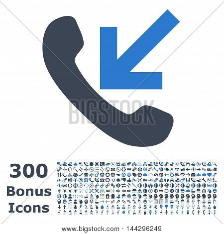 Incoming Call icon with 300 bonus icons. Vector illustration style is flat iconic bicolor symbols, smooth blue colors, white background.