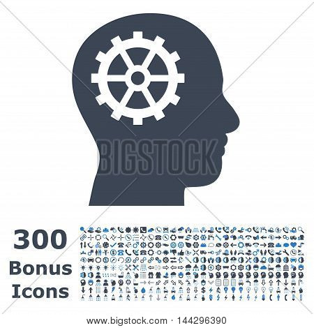 Intellect icon with 300 bonus icons. Vector illustration style is flat iconic bicolor symbols, smooth blue colors, white background.