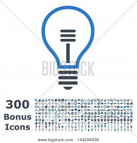 Lamp Bulb icon with 300 bonus icons. Vector illustration style is flat iconic bicolor symbols, smooth blue colors, white background.