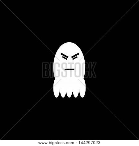 The Cute little ghost,Pensive emoticon Vector Face