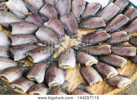 Dried fish for sale at market in Thailand.