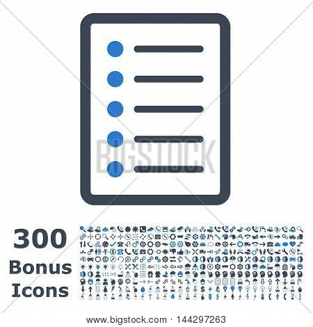 List Page icon with 300 bonus icons. Vector illustration style is flat iconic bicolor symbols, smooth blue colors, white background.