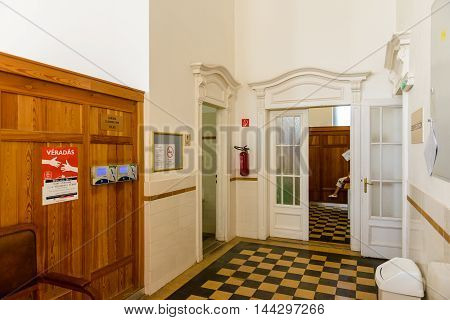 BUDAPEST, HUNGARY - AUG 18, 2014: Changing room in the Szechenyi Medicinal Bath, the largest medicinal bath in Europe, built in 1913